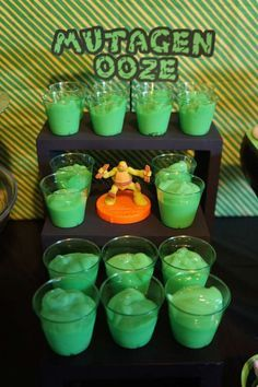 Green pudding at a Teenage Mutant Ninja Turtles birthday party! See more party planning ideas at CatchMyParty.com!