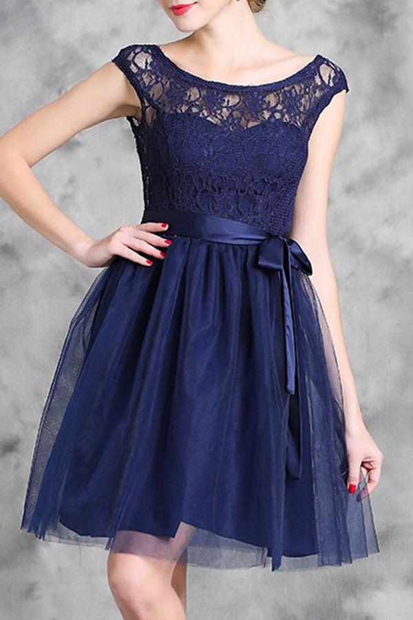 Lace Spliced Sleeveless Flare Dress