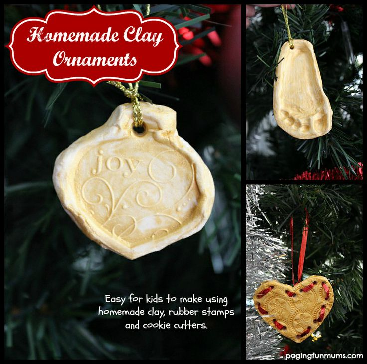 Stamped Clay Ornaments - an easy and inexpensive Christmas Craft.