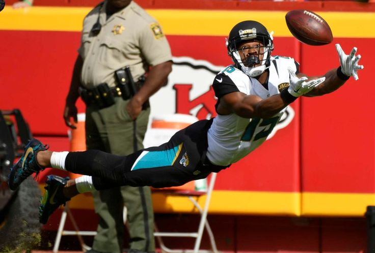 Jaguars vs. Chiefs  -  19-14, Chiefs  -  November 6, 2016  -   Jacksonville Jaguars wide receiver Allen Robinson (15) leaps for but cannot catch the ball during the first half of an NFL football game against the Kansas City Chiefs in Kansas City, Mo., Sunday, Nov. 6, 2016.