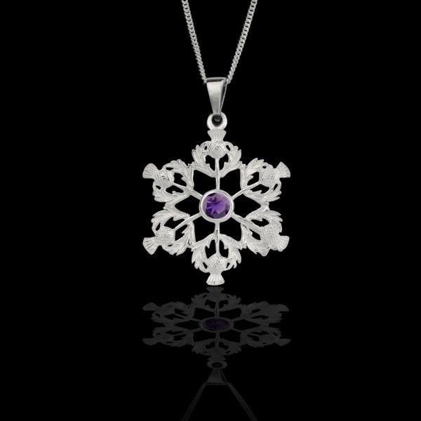 Scottish Thistle Pendant (purple stone)