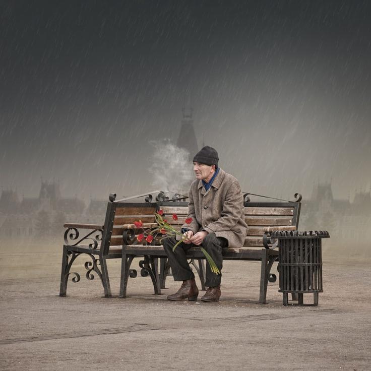 Man waiting in Iasi, Romania