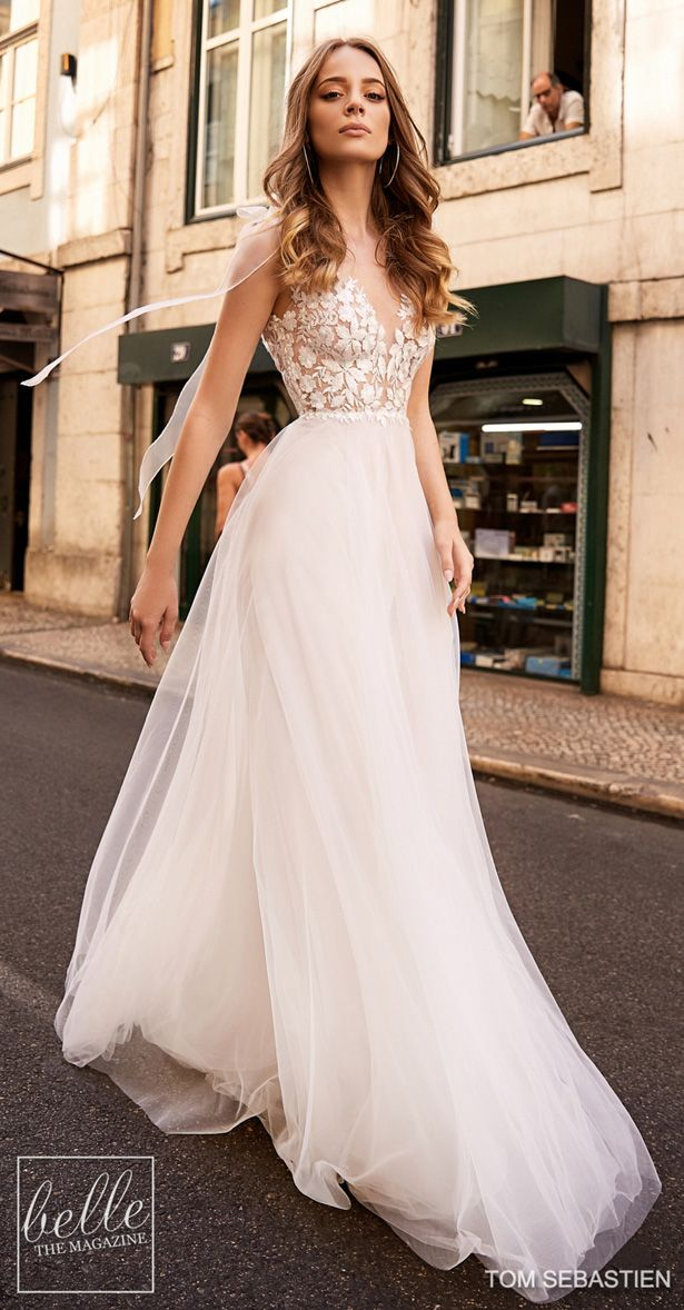 8007814a96fb Tom Sebastien Wedding Dresses 2019 - Lisbon Bridal Collection. Sleeveless  a-line flowy wedding dress with lace bodice tulle skirt #weddingdress ...