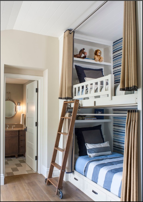 Bunk Beds With Rolling Ladder U0026 Privacy Curtains. Cute For Kids Having To  Share A Bedroom. Kinda Wishing We Went The Bunk Bed Route With The Kids. Part 86