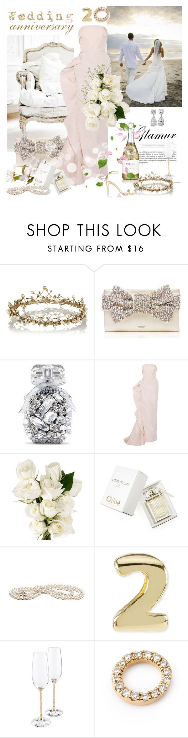 """""""Our 20 Years Wedding Anniversary"""" by rever-de-paris ❤ liked on Polyvore featuring Erickson Beamon, Kate Spade, Victoria's Secret, Steve Madden, Marchesa, Rebecca White, Chloé, Kendra Scott, Swarovski and Loquet"""