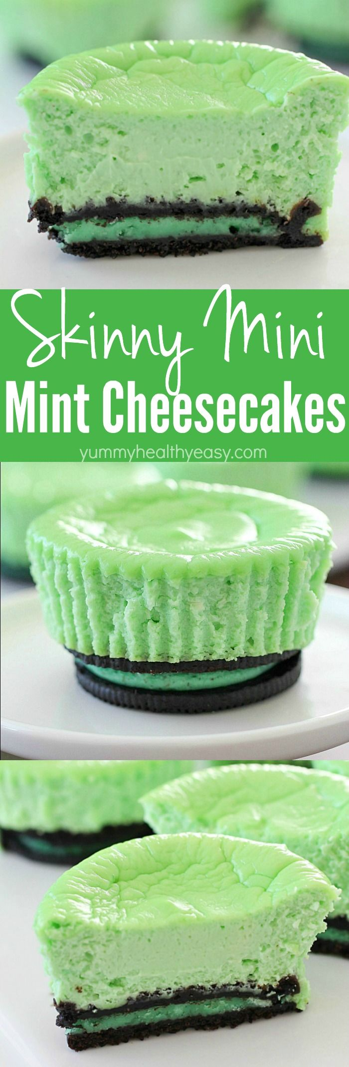 Skinny Mini Mint Cheesecakes with an Oreo crust! This lighter mint cheesecake recipe is super easy to make and you only need a few ingredients to whip up a batch. These cute cheesecakes have less calories than a regular cheesecake plus built-in portion control with the muffin size!