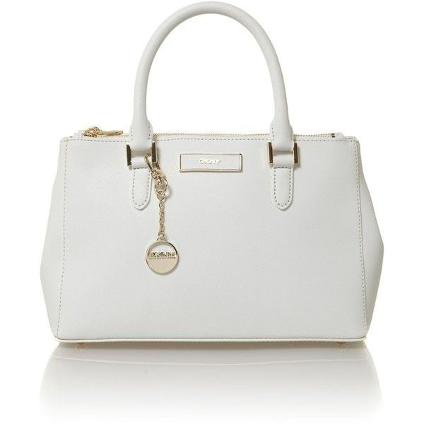DKNY Saffiano white bowling bag ($340) ❤ liked on Polyvore featuring bags, handbags, bowler purse, dkny purses, white bags, bowler handbag and dkny handbags