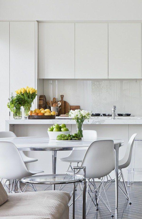 109 besten Weiße Küchen Bilder auf Pinterest Küchen modern, Rund - fliesenspiegel k che glas