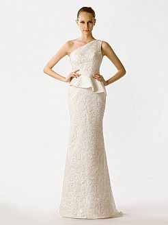 One Shoulder Mermaid Lace Bridal Gown - USD $198.00