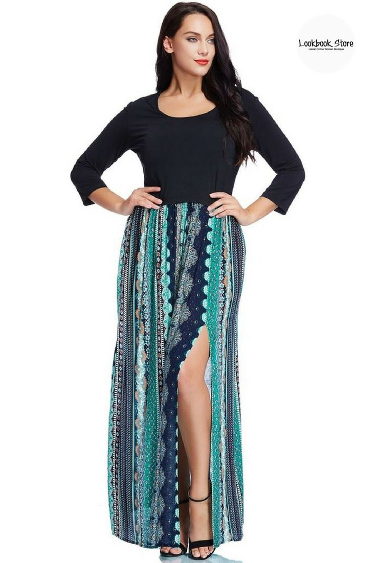 Spring Style // Match this pretty plus size ethnic-print maxi dress with your gladiator flats and nail that festival outfit.