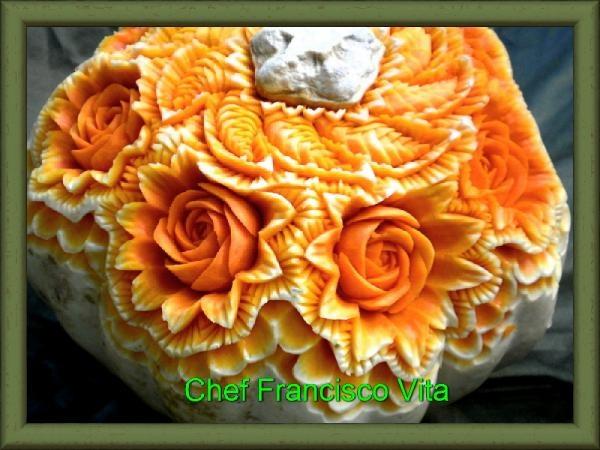 ❀⊱╮Carved Watermelons, Pumpkins and other food art.  / Pumpkin Carving.Escultura em Abóbora.