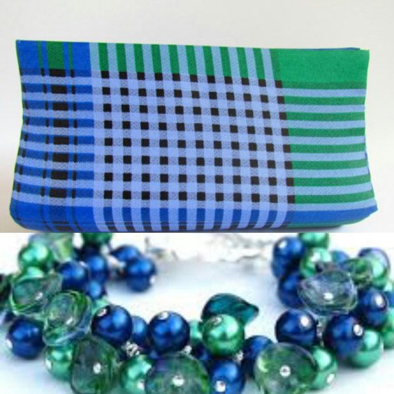 Green & Royal Blue Plaid Clutch Royal Blue by ICreationsBoutique