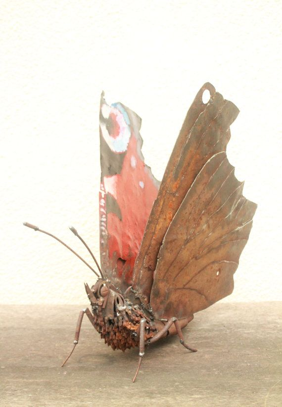 mixed media figurative art assemblage Scrap Metal Sculpture of a Peacock Butterfly by GreenHandSculpture