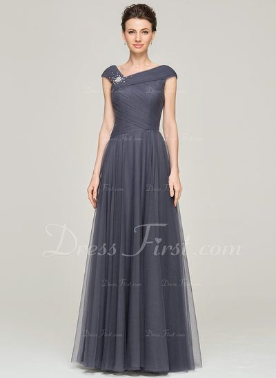 c7f04b83d20 A-Line Princess V-neck Floor-Length Tulle Mother of the Bride Dress With  Ruffle Beading Sequins (008062861) - DressFirst