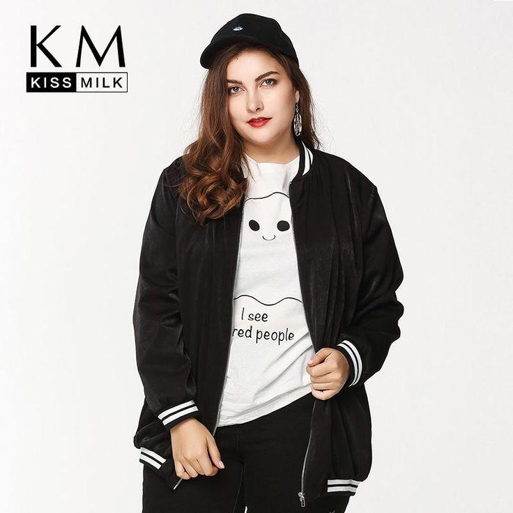 Kissmilk Women Plus Size Bomber Jacket Zip Up Baseball Jacket Coats Quilted Outdooer Hoodies Big Size Oversize Outfits Girls