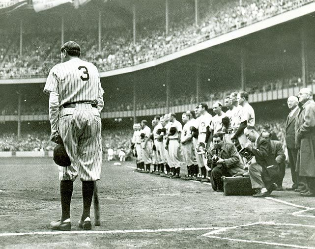 Babe Ruth salutes the New York fans during his final appearance at Yankee Stadium in 1948. (AP) GALLERY: Rare Photos of Babe Ruth