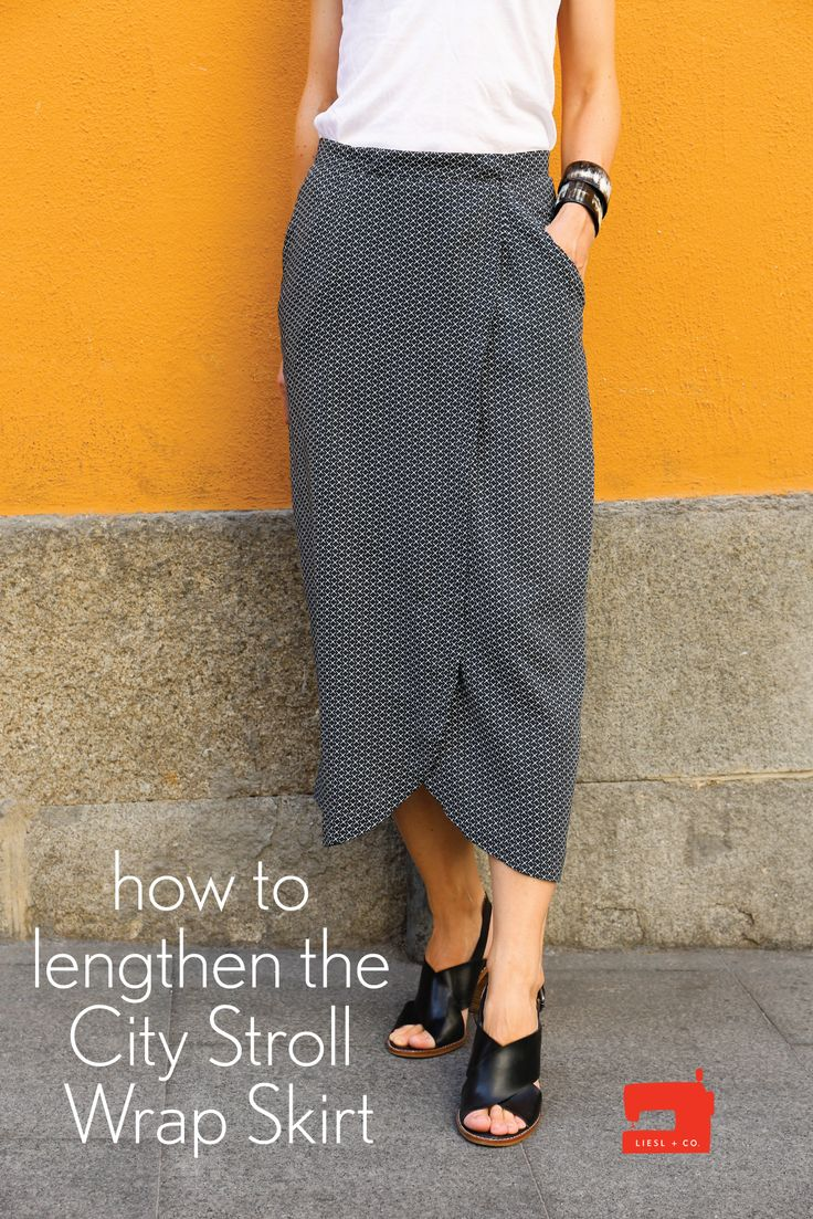Liesl is here with a tutorial for lengthening the Liesl + Co. City Stroll Wrap Skirt. It's one of her favorite patterns, and she has made a longer-length version in rayon for warm weather.