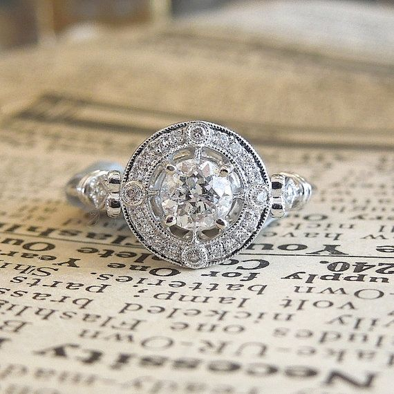Old European Cut Diamond in  Exquisite White Gold Art Deco Style Halo Mounting