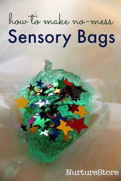 no mess sensory play :: how to make sensory discovery bags  :: mess free sensory activities