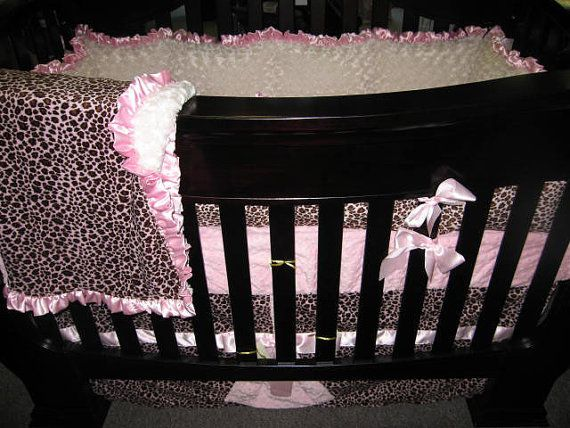 Pink Leopard Baby Bedding Set 4 Piece Crib Bedding by Shopextras, $320.00