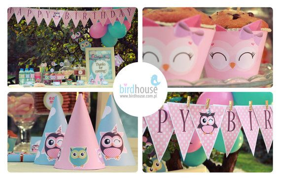 Owl Birthday- 1st Birthday- Owl Party Decorations - Girl Owl Birthday -Owl Printable Party package