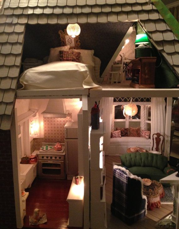 Brick gingerbread cottage fully furnished by giginstudio on Etsy