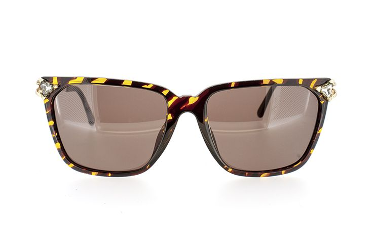 Paloma Picasso  1980s  Made in Germany  Model No: 3752 -10  Square Women's Yellow / Brown tortoiseshell acetate with gold arm &  diamante detail.  Dimensions: 55-16-130