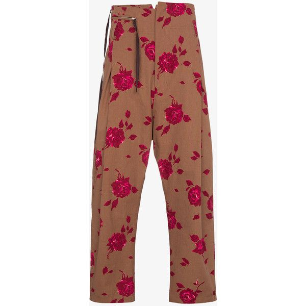Bed J.W. Ford Floral Print High Waisted Trousers (2,475 SAR) ❤ liked on Polyvore featuring men's fashion, men's clothing, men's pants, men's casual pants, mens floral print pants, men's casual cotton pants, mens floral pants, men's high rise pants and mens cotton pants