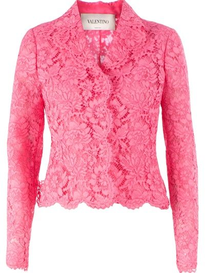jacket . cotton:25%polyamid lined with silk . Pink cotton blend floral lace jacket from Valentino featuring notched lapels, a concealed front fastening, a scalloped hem, long sleeves and a central bow detail at the rear.