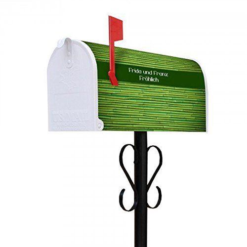 banjado - Personalisierter Amerikanischer Briefkasten 17x22x51cm US Mailbox mit Ständer Motiv Bambus Grün