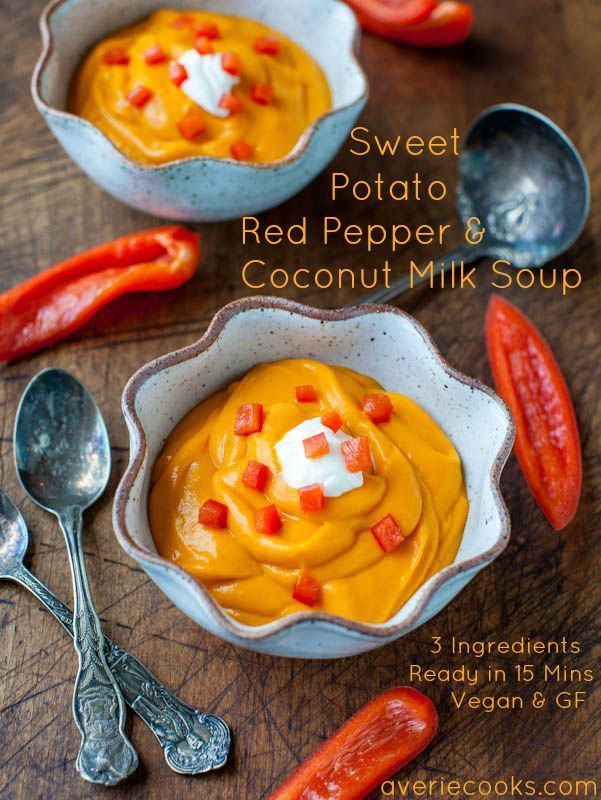 Sweet Potato Red Pepper & Coconut Milk Soup. Make this from-scratch soup in 15 mins with 3 ingredients. Easy, creamy & rich. Vegan, GF