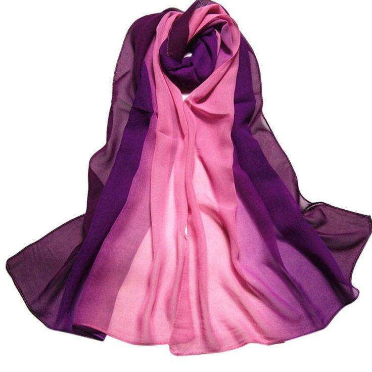Zomer Mode Chiffon Sjaal Gradiënt Kleuren Georgette Vrouwelijke Zijden Sjaals Cape Manta # ED