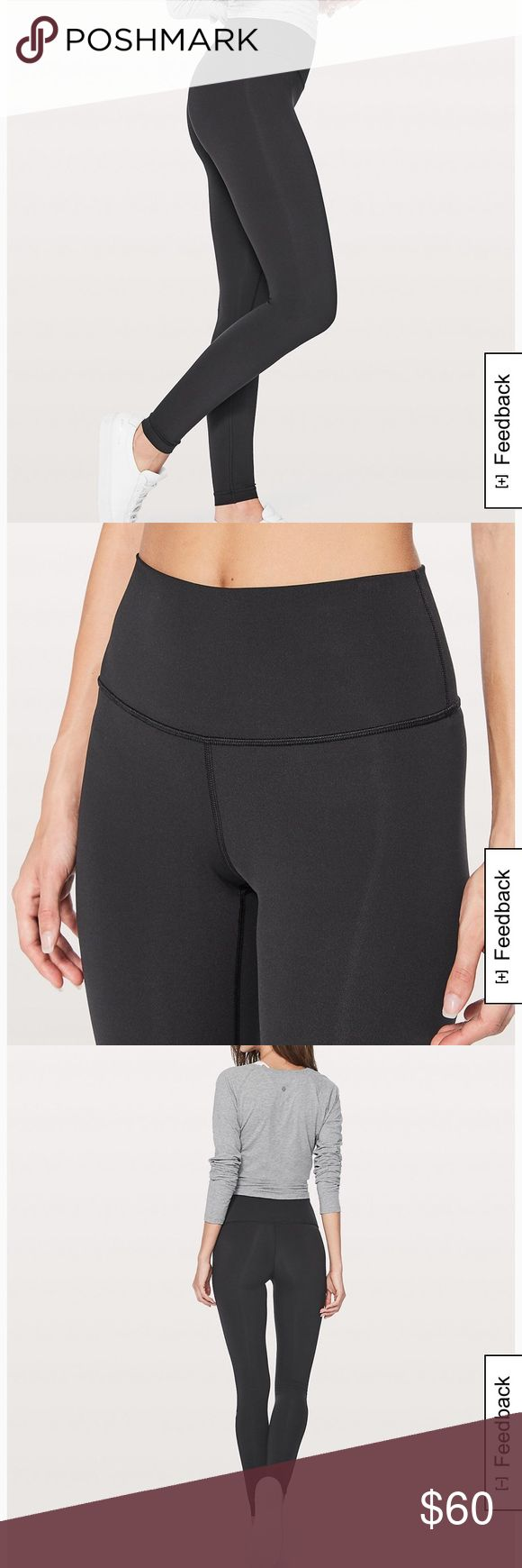"""High waisted Lululemon leggings High waisted leggings in black. Washed a few times but perfect condition- no holes or tears. Inside tag shows only signs of wear. Top hits right above belly button and legs are long- I believe 29"""" (past ankles on me I am 5'2). Just a bit too big on me! lululemon athletica Pants Leggings"""