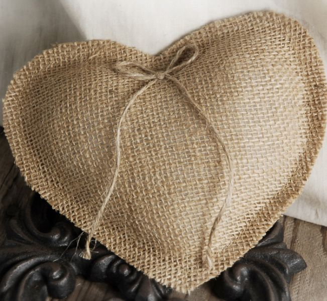 Handmade Heart Natural Burlap Ring Pillow $14 You could add lace around the edge to make it even more special ~ Burlap and Lace Wedding