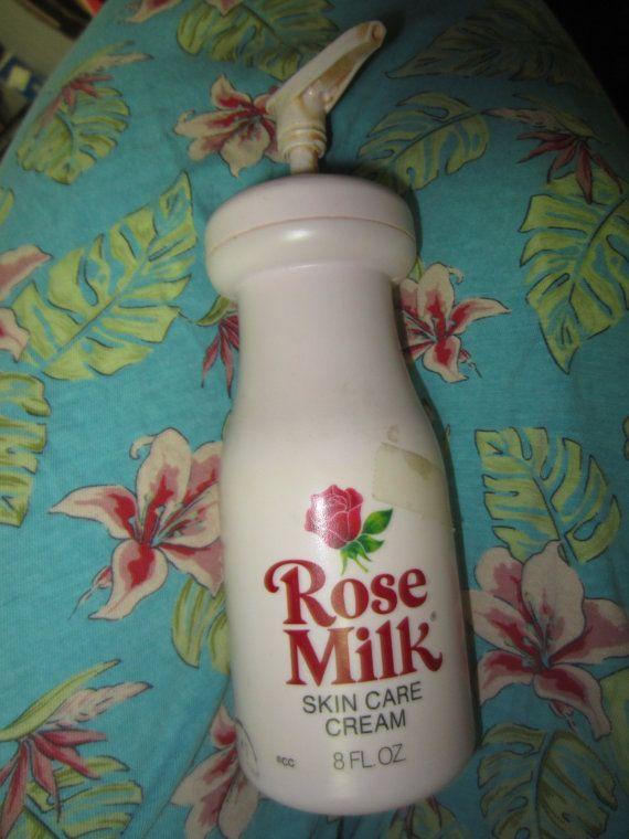 Vintage 1970s Rose Milk Skin Care Cream pink plastic bottle 8 oz container…