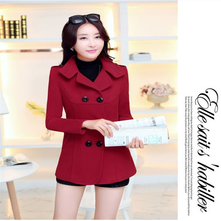 Women Woolen Coats 2016 Winter Trench Coat Fashion Solid Double Breasted Overcoat Turn-down Collar Slim Outerwear C8103