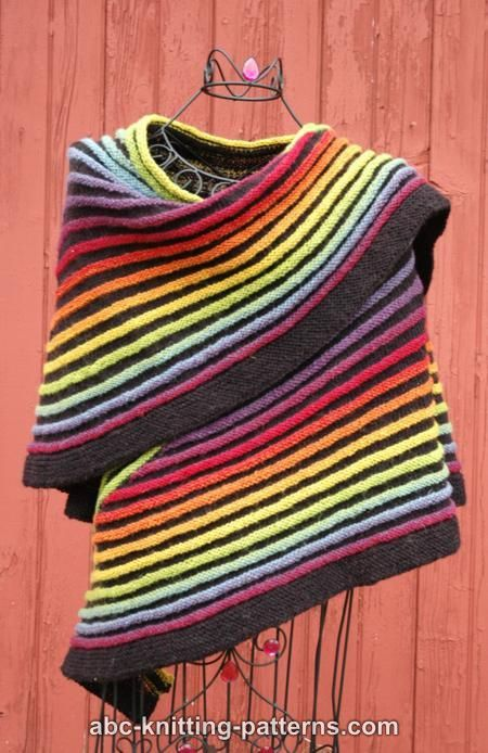 ABC Knitting Patterns - Rainbow Striped Shawl