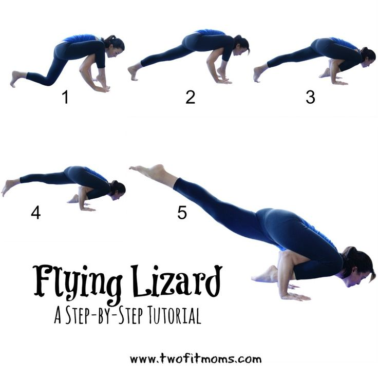 Two Fit Moms tutorial on Flying Lizard Pose - perfect for those just getting started with arm balances.