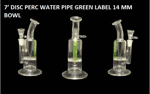 7' DISC PERC WATER PIPE GREEN LABEL 14 MM BOWL  $69.99