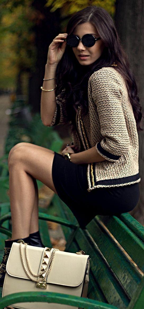 Tweed blazer at my age I would definitely wear the black sheath dress longer but it's a great classic look