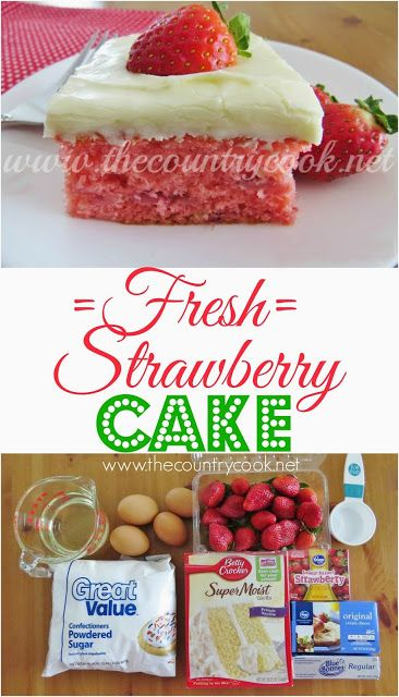 Fresh Strawberry Cake Recipe from The Country Cook. Cake mix combined with fresh strawberries all topped with a cream cheese and powdered sugar frosting. Serve by itself or with a bit of ice cream. The BEST after-dinner dessert!