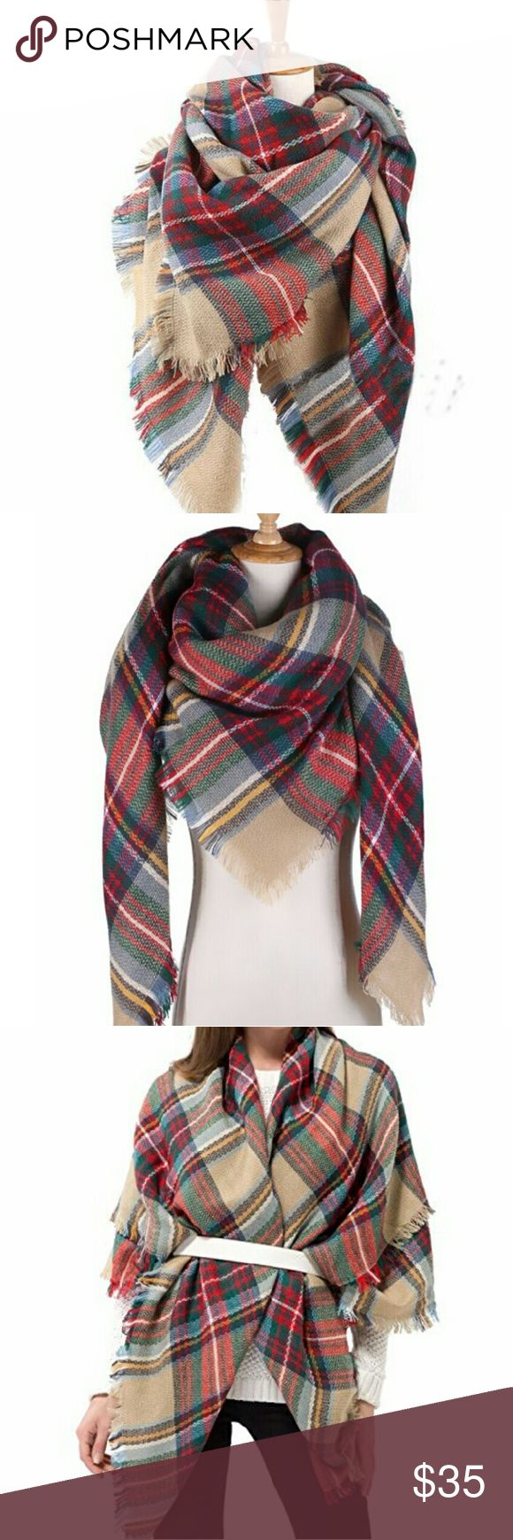 """THREE LEFT 5☆ oversized plaid tartan blanket scarf Gorgoeus warm scarf perfect for fall and winter. 100% acrylic fibers so super warm and so so soft, not at all scratchy like wool. Measures 55"""" x 55"""". Ask about bundles! Have sold over 15 of these and they were all 5-star rated by buyers! Feel free to make an offer! Priced to negotiate! C.C. Boutique  Accessories Scarves & Wraps"""