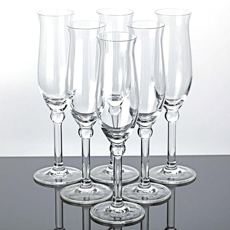 6 schön geformte Sektgläser Trinkgläser Gläser Sektkelche Kugel Stängel klar