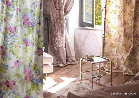 "Designers Guild, ""Rosamund"" 54″ x 96″, Silk Curtain Panels, White, Mauve and Green Printed Silk, From Jane Hall Design"