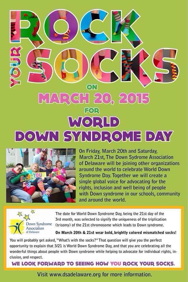 "Shop for the cause! @curriehair Skin & Nails is currently selling socks for their ""Rocks the Socks"" event in honor of World Down Syndrome Day, March 21. The socks are $1.00 a piece and all proceeds will be donated to the Down's Syndrome Association of Delaware!"