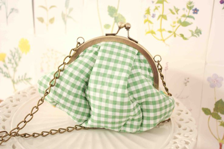 The green/white plaid ''violet'' bag