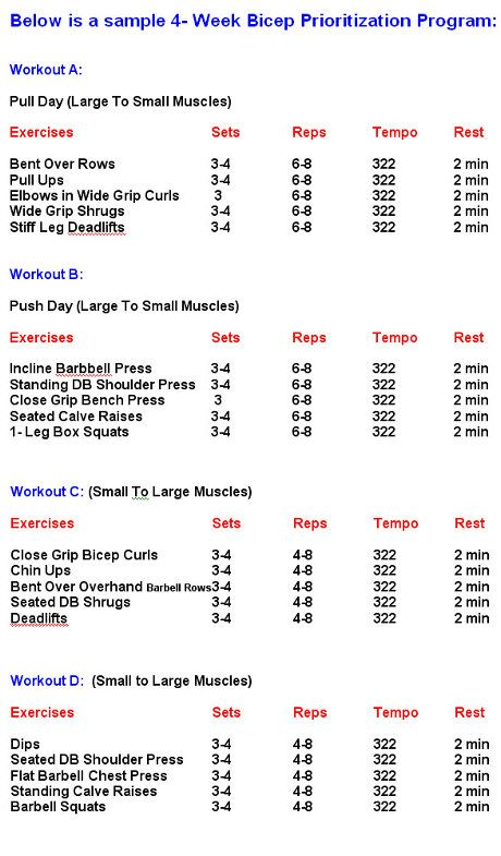 Bodybuilding Workouts Chartbodybuilding Workout Schedule ...