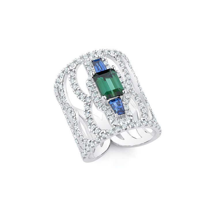 Green tourmanline, blue sapphire tapered baguettes and diamonds set in 18K white gold