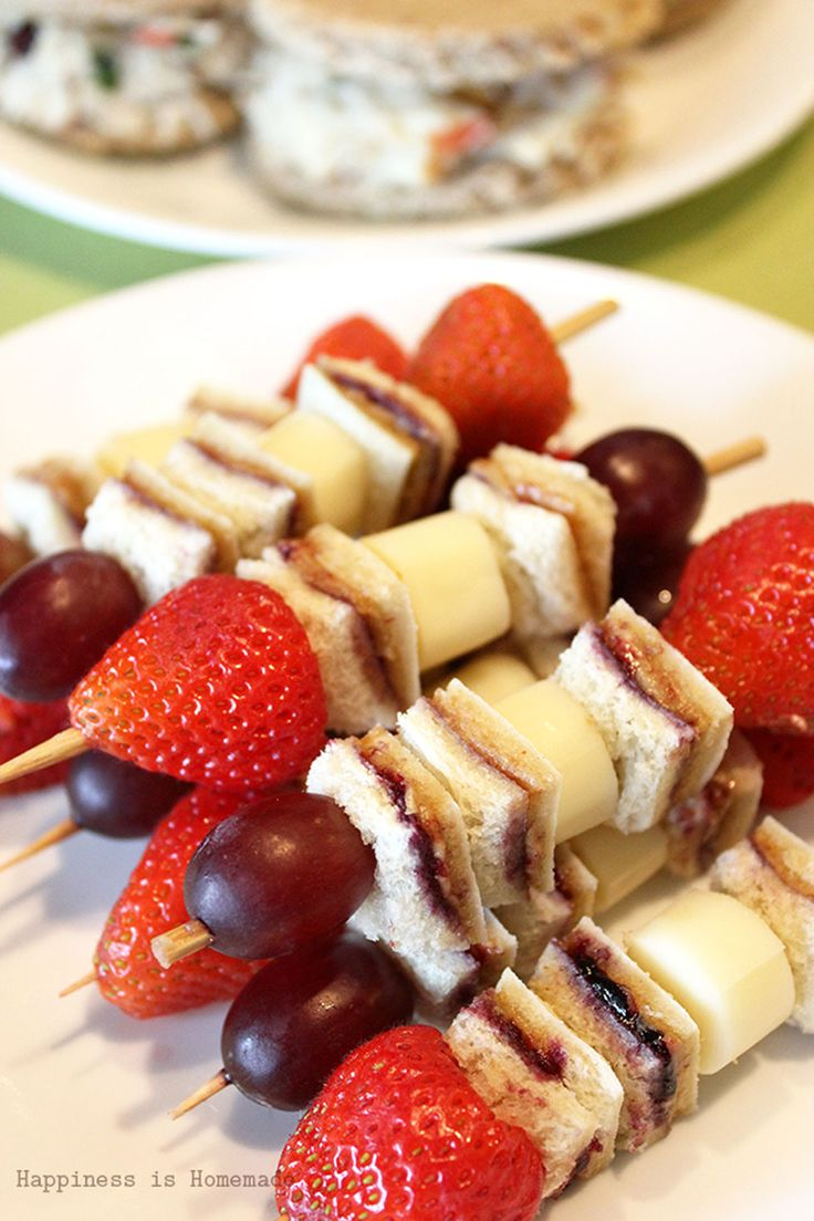 Kids will go bananas over these fun-to-eat snack peanut butter and jelly sandwich kabobs.