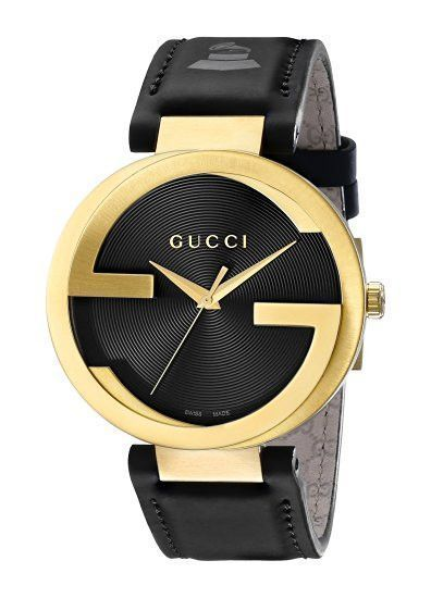 8897c621970 Gucci Men s YA133208 Interlocking Grammy Special Edition Analog Swiss  Quartz Black Genuine Leather Watch